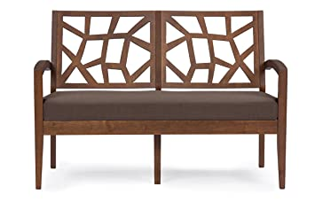 Baxton Studio Jennifer Fabric Modern Loveseat, Brown Wood