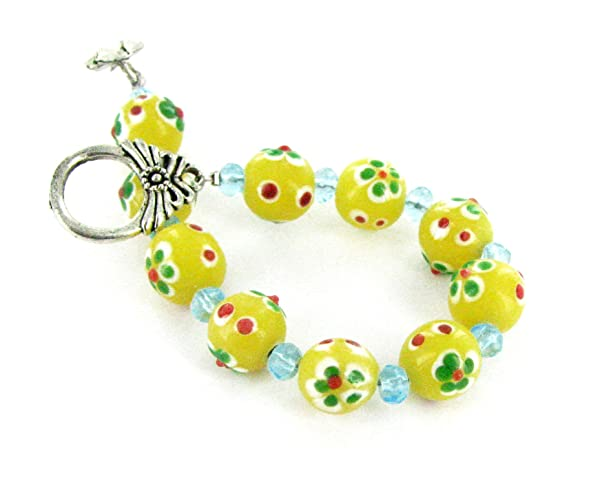 Linpeng Painted Flowers Yellow Glass Beads Fancy Toggle Bracelet, (Color: Yellow)