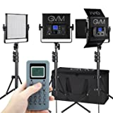 GVM LED Video Light,3 pack,CRI97+,Wireless Control,Memory Function, for video lighting,Studio,YouTube,Product Photography,Video Shooting,adjustable Bi- color,LCD Large Display,Durable Aluminum U-frame (Color: Black-520s-3pack)