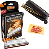 Hohner 542 Golden Melody Harmonica - Key of C Bundle with Carrying Case and Austin Bazaar Polishing Cloth (Color: Key of C, Tamaño: Golden Melody)