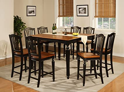 East West Furniture CHEL7-BLK-W 7-Piece Counter Height Table Set