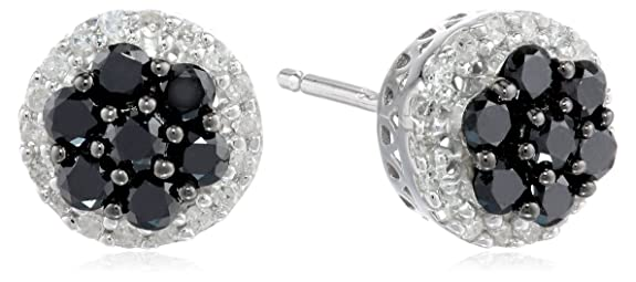 Sterling-Silver-Black-and-White-Diamond-1-2cttw-Cluster-Earrings