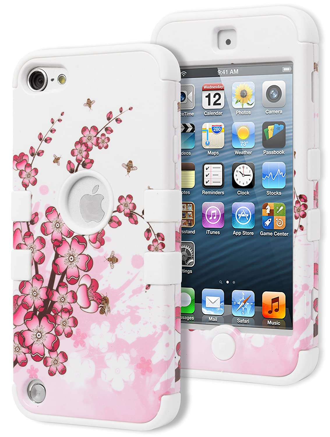 iPod Touch 5 Case, Bastex Hybrid Protective Case - Soft White Silicone Cover with Pink Hibiscus Flower Design Hard Case for Apple iPod Touch 5 leegoal tm armor combo silicone hybrid hard case cover with kickstand fit for apple ipod touch 5g with accessories sreen protector anti dust plug