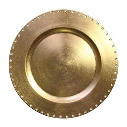 Gold Jewel Rim Charger Plate by Charge It by Jay