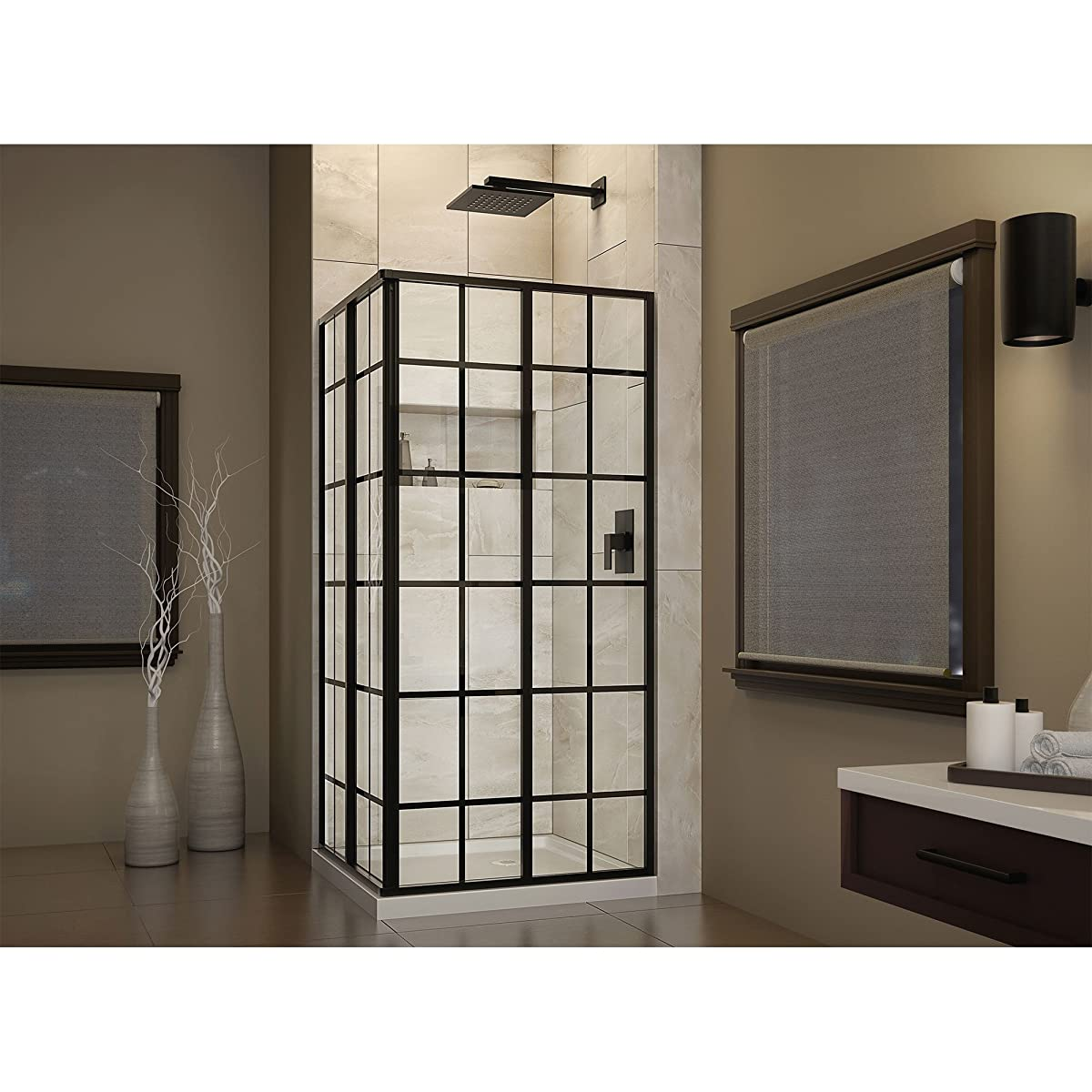 "DreamLine French Corner 34 1/2 in. D x 34 1/2 in. W, Framed Sliding Shower Enclosure, 5/32"" Glass, Satin Black Finish"