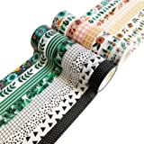 Washi Tape Set, 16 Rolls of 15 mm Wide Decorative Colored Tape for Scrapbooking, Bullet Journals, Planners, DIY Decor and Craft Supplies