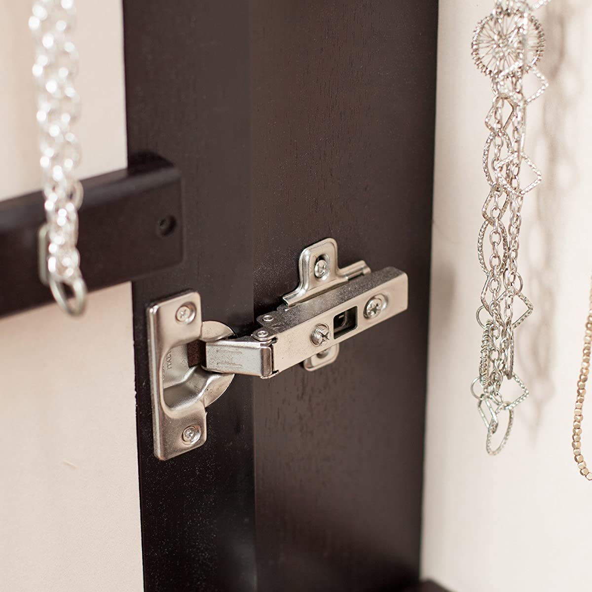 Belham Living Lighted Wall Mount Locking Jewelry Armoire - - 14.5W x 50H in.