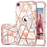 iPod 7 Case 2019, iPod 6 Case, iPod 5 Case, Fingic Rose Gold Marble Design Shiny Glitter Bumper Hard PC Soft Rubber Silicone Anti-Scratch Shockproof Protective Case for Apple iPod Touch 5th/6th/7th (Color: Rose Gold)