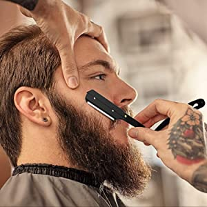 Equinox Professional Matte Black Straight Edge Razor with 100 Single Edge Derby Premium Blades - For Barbers, Salons, and Hair Enthusiasts (Color: Matte Black Razor w/ 100 Derby Premium Blades)
