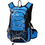 Mubasel Gear Insulated Hydration Backpack with 2L BPA Free Bladder - Keeps Liquid Cool up to 5 Hours - Waterproof Pack for Running, Hiking, Cycling, Camping (Blue - with Waist Pack)
