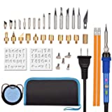 Wood Burning Kit, AiTool Wood Burning Pyrography Pen Kit with Safety Indicator Light, Power Switch, Temperature Adjustable, Carving Embossing Solderin