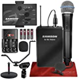 Samson Go Mic Mobile Professional Digital Wireless System with Q8 Dynamic Handheld Mic/Transmitter and LM8 Lavalier Mic and Belt Pack Transmitter, Mic Stand, and Deluxe Bundle