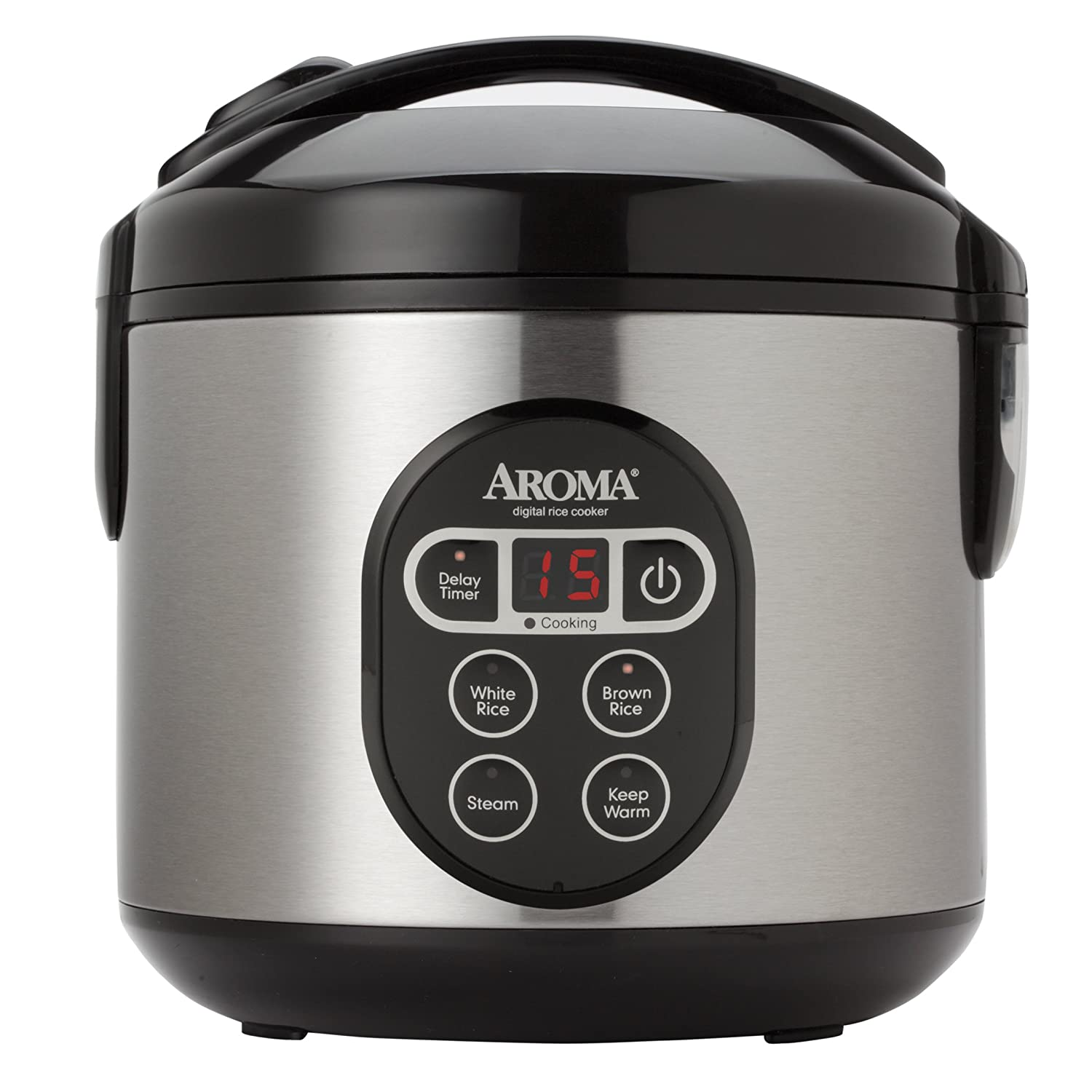 ... (Cooked) Digital Rice Cooker and Food Steamer Stainless Steel Black