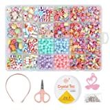 850PCS DIY Bead Set with a Coiling, a Scissors and 3 Hairpins, 24 Different Types and Shapes Colorful Amblyopia Training Acrylic DIY Beads in a Box, Children's Bead Necklace and Bracelet Crafts (Tamaño: A)