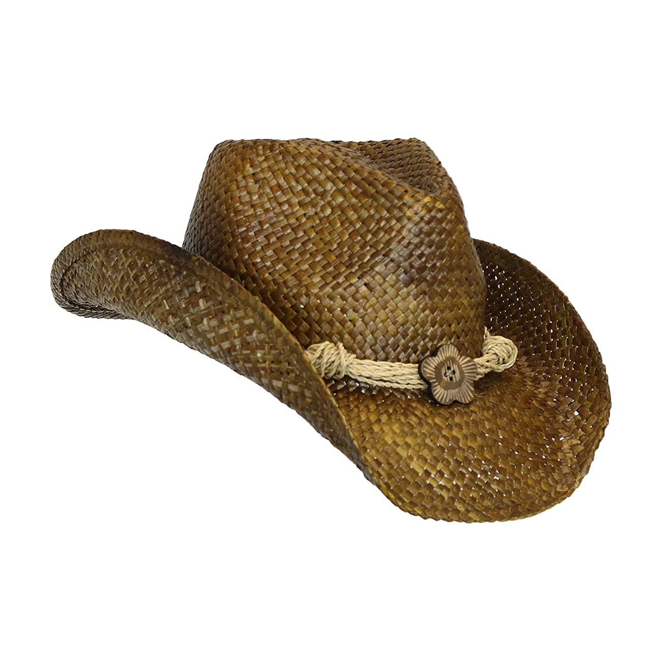 Western Seagrass Straw Cowboy Hat – Cute Vintage Cowgirl Hat w/ Flower 0