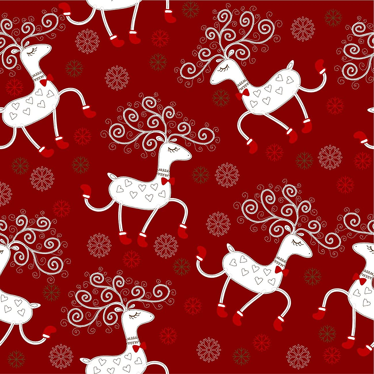 Retro Christmas Kraft Wrapping Paper Sets (Reindeer-Mistletoe-SodaShoppe on Brown Kraft) 4