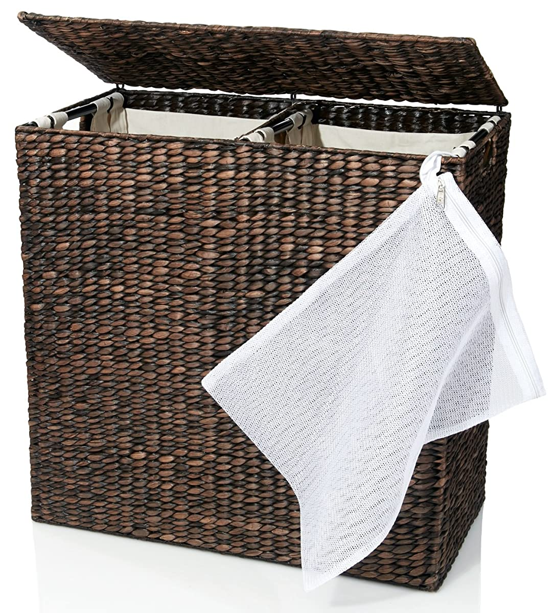 Designer wicker laundry hamper with divided interior and laundry basket bags espresso water - Wicker laundry basket with liner and lid ...