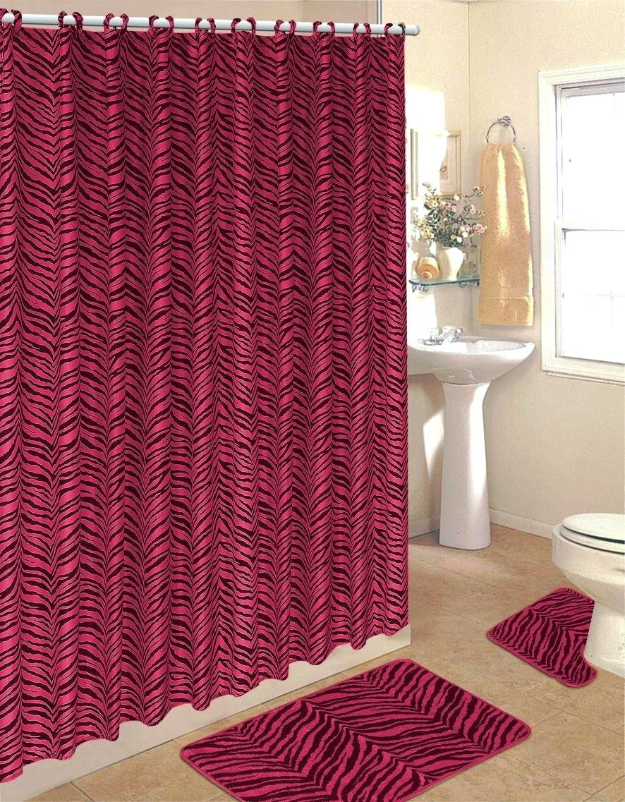 Purple cheetah print curtains - Hot Pink Zebra Fabric Shower Curtain Fabric Covered Rings Area Rug Contour Rug