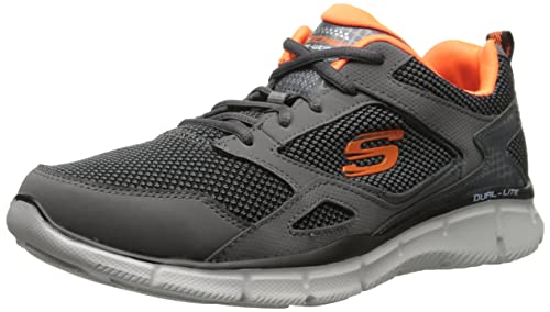 Skechers Sport Men's Equalizer Game Point Oxford, Gray/Orange, 8.5 M US