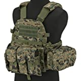 Evike - Avengers Airsoft Tactical Vest 6D9T4A w/Magazine & Radio Pouches - Digital Woodland (Color: Digital Woodland, Tamaño: One Size)