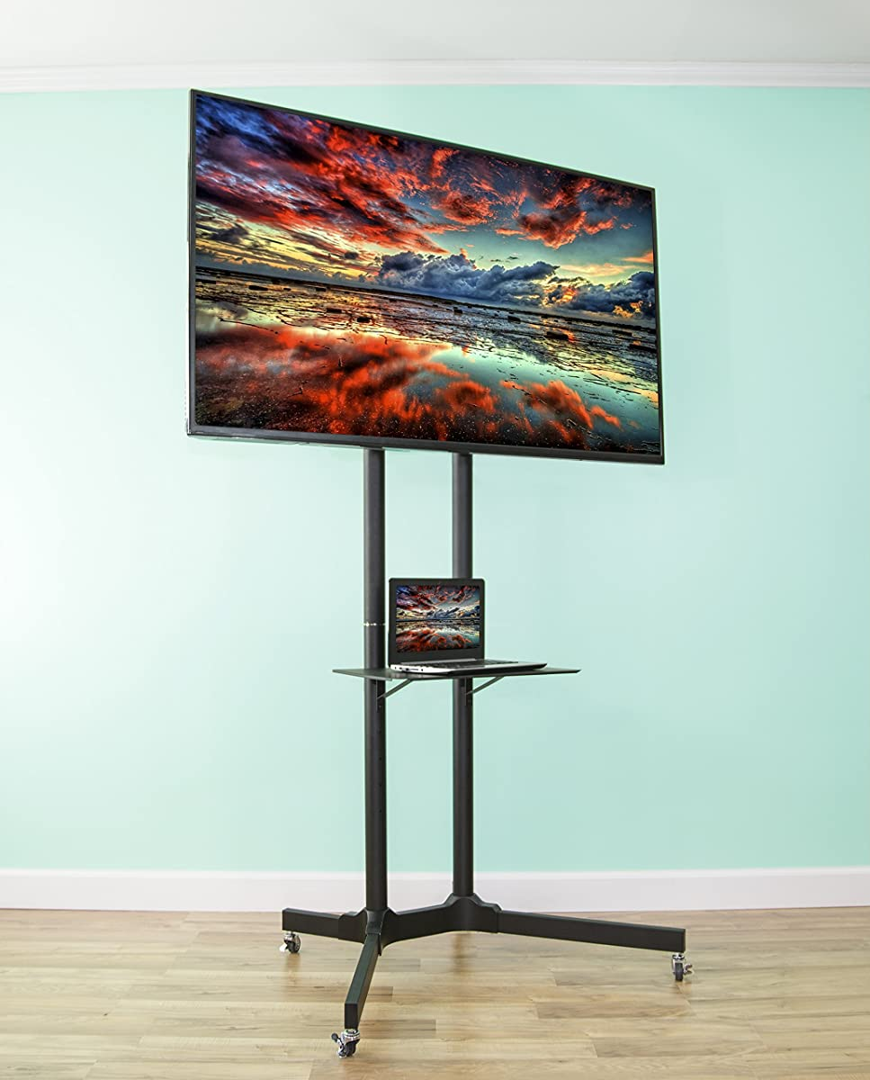 """VIVO Black TV Cart for LCD LED Plasma Flat Panel Stand w/Wheels Mobile fits 32"""" to 65"""" (STAND-TV03E)"""