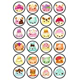 24 Num Noms Edible PREMIUM THICKNESS SWEETENED VANILLA, Wafer Rice Paper Cupcake Toppers/Decorations