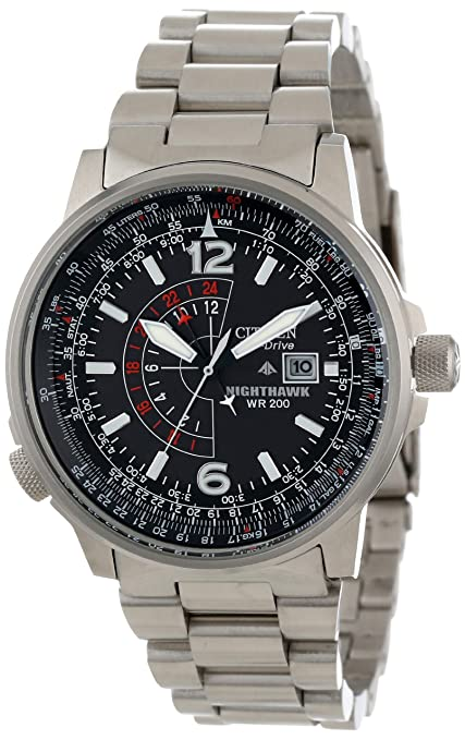 "Citizen Men's BJ7000-52E ""Nighthawk"" Stainless Steel Eco-Drive Watch-奢品汇 