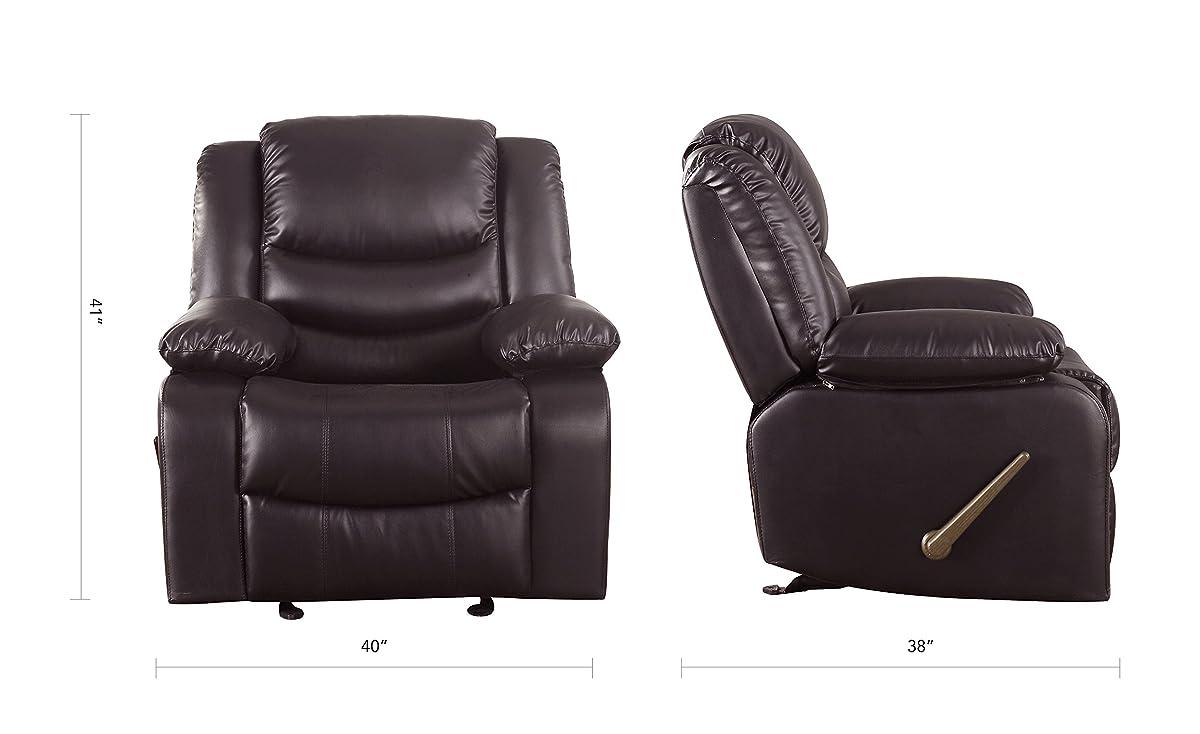 Bonded Leather Recliner Living Room Rocker Chair