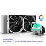 DEEPCOOL Captain 240X WH RGB AIO CPU Liquid Cooler, Anti-Leak Tech Inside, Stainless Steel U-Shape Pipe, Cable Controller and Motherboard with 12V 4-pin RGB Header Control, 3-Year Warranty (Color: CAPATAIN 240X WHITE, Tamaño: 240mm)