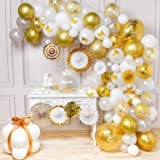 PartyWoo Gold White Balloon Garland Kit, 135 pcs of 8 Gold White Paper Fans, 10 Gold Butterflies, 2 Jumble Confetti Balloons, White Silver Balloons, Gold Metallic Balloons for Gold and White Party (Color: gold,white, grey)