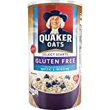Quaker Oats Gluten Free Quick 1-Minute Oats, Original, Breakfast Cereal, 18 Ounce Canister (Pack of 12)