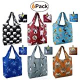 Grocery Bags Reusable Foldable 6 Pack Shopping Bags Large 50LBS Cute Groceries Bags with Pouch Bulk Ripstop Waterproof Machine Washable Eco-Friendly Nylon Elephant Hedgehog Cat Turtle Dog Penguin (Color: Animal 6 Pack, Tamaño: W15*H25.3*D4.7)