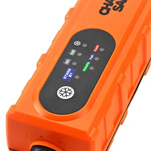 Portable Car Battery Charger- 12v For Car 6v For Motorcycle and Powersports - Best Automatic Auto Battery Trickle Smart Charger For Lead Acid Batteries- Battery Charge Maintainer With Clips and O-rings (Color: Orange)