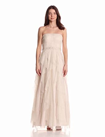 Hailey by Adrianna Papell Women's Dresses Glitter Ball Gown, Ivory/Gold, 8