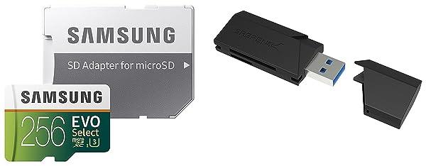 256GB EVO Select Memory Card and Sabrent SuperSpeed 2-Slot USB 3.0 Flash Memory Card Reader (Tamaño: 256 GB)