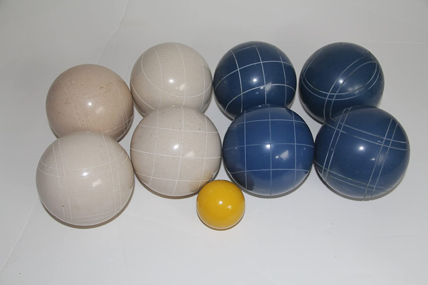 Premium Quality EPCO Tournament Bocce Set - 110mm Blue and White Bocce Balls ...