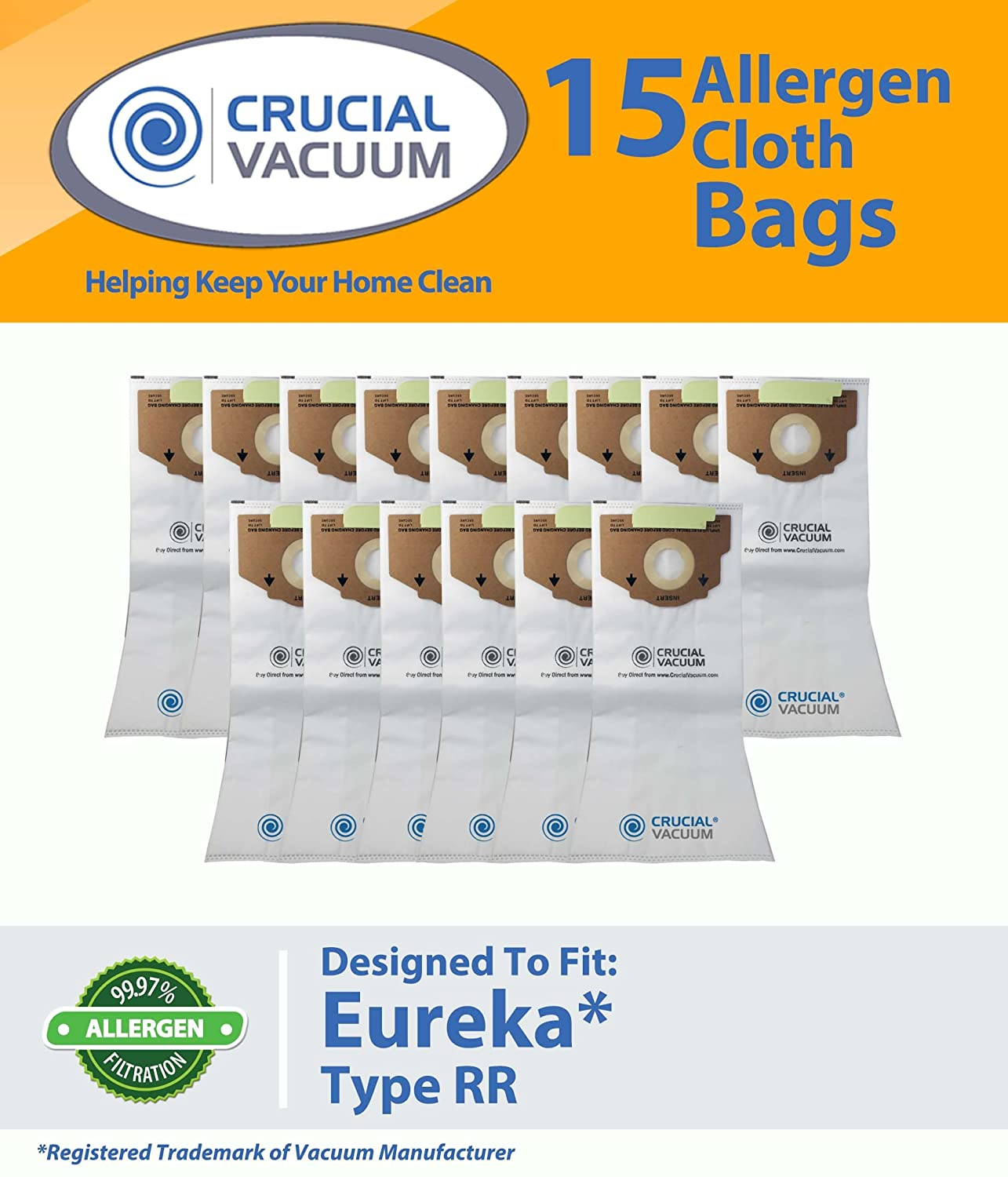 Crucial Vacuum Eureka Style RR Allergen Cloth (15 Pack) Bags Fits Eureka 4800 Series, Part # 61115, 61115A, 61115B, 63295A at Sears.com