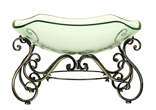 Decorative Glass Bowl on Scroll Metal Stand with Great Decorator Appeal by Benzara