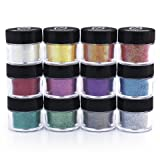 Glitties Cosmetic Glitter Powder Kit (12 PK)- Safe for eyeshadow, make up, body and nails. (Color: Purple, Tamaño: Cosmetic Colors 12pk)