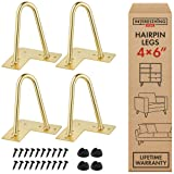 Interesthing Home Hairpin Legs for Coffee and End Tables, Chairs and Rubber Floor Protectors, 6 Inches, Gold (Color: Gold, Tamaño: 6 Inch)