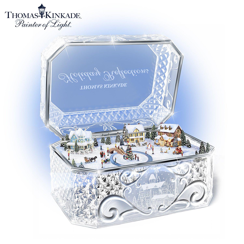 Thomas Kinkade Holiday Reflections Crystal Music Box by The Bradford Exchange