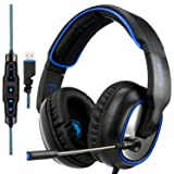 Sades R7 Gaming Headset Virtual 7.1 Channel Surround Sound gaming headset, USB Wired Over Ear Headphones with Mic&Four EQ Mode&Noise Cancelling&Volume Control & LED for PC PS4 Mac (Color: R7 CS-R)