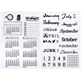 2 Sheets Calendar Planner Silicone Clear Stamps Dates and Months Planner Clear Stamp Seal for Journaling, DIY Scrapbooking and Photo Album Decoration