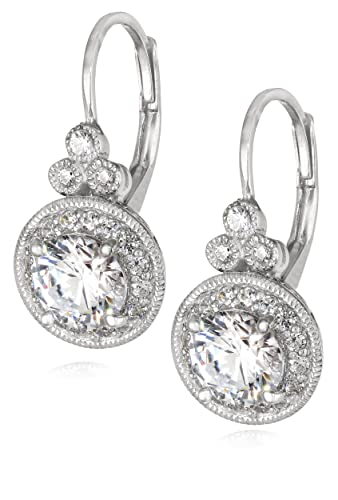 Plated-Sterling-Silver-Swarovski-Zirconia-Round-Antique-Earrings