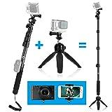 CamKix Premium 3in1 Telescopic Pole 16-47 Inch & Tripod Base Kit compatible with GoPro Hero 7, 6, Fusion, 5, Black, Session, Hero 4, Session, Black, Silver, Hero+ LCD, 3+, 3, 2, 1, Camera + Smartphone (Color: Silver, Tamaño: Telescopic Pole & Tripod Base Kit)