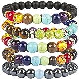 Casoty 7 Chakras Bracelet Set of 5 - 8mm Volcano Lava Rock Stone Beads Healing Yoga Bracelets For Men and Women