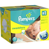Pampers 216 Count Swaddlers Diapers Size 1 (8-14 lb) Economy Pack Plus (Packaging May Vary)