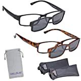 Marc De Rez Computer Reading Glasses With Clip On Sunglasses - 2 Pack - Anti Blue Light Prescription Readers, Magnetic Sun Shades and Pouch - UVC, UVB and UVA Protection - Black/Tortoise, 1.75 (Color: Black & Tortoise, Tamaño: one size fits all)