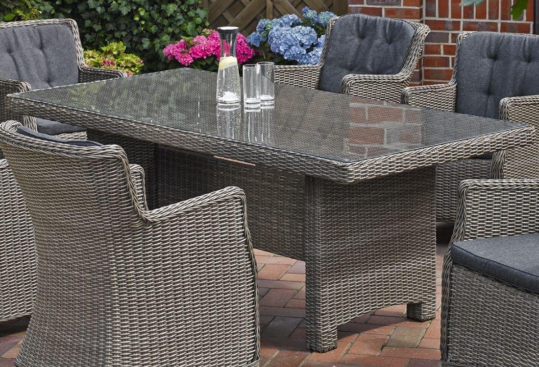 Gartentisch Destiny Luna 200 x 100 cm Grau Geflechttisch Esstisch Tisch Polyrattan Wintergarten jetzt bestellen