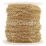 CleverDelights Cable Chain Spool - 30 Feet - Champagne Gold Color - 2x3mm Link - 10 Meters (Color: Gold, Tamaño: 2x3mm)